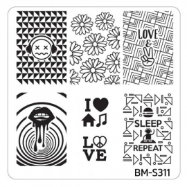 Bundle Monster - Musik City Nail Art Manicure Stamping Plate - BM-S311: Eat, Sleep, DJ, Repeat