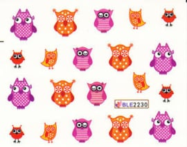 Waterdecals - Red & Purple Owls