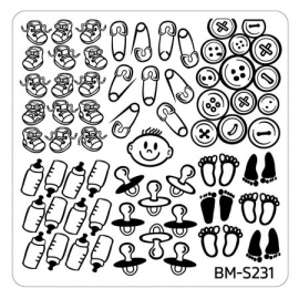 Bundle Monster - Baby Shower Nail Stamping Plate - Occasion Collection, Pacifiers + Pins
