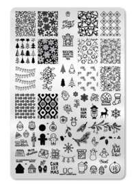 UberChic - Big Nail Stamping Plate - Happy Christmas