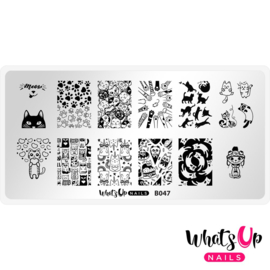 Whats Up Nails - Stamping Plate - B047 Everyday is Caturday