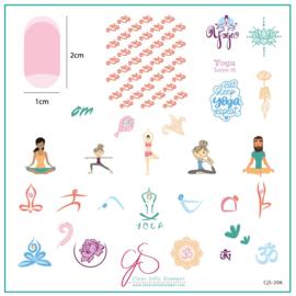 Clear Jelly Stamper - Medium Stamping Plate - CJS_206 - Eat, Sleep, Yoga, Repeat!