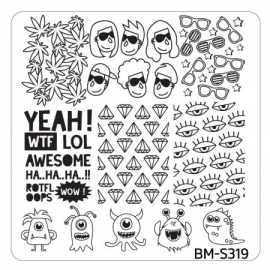 Bundle Monster - Musik City Nail Art Manicure Stamping Plate - BM-S319: Seeing Monsters
