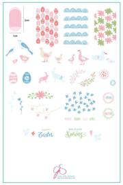 Clear Jelly Stamper - Big Stamping Plate - CJS_H28 - Springtime Easter