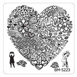 Bundle Monster - Valentine's Day Themed Nail Art Stamping Plates - Occasions Collection, BM-S223: Heart's Buffet