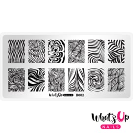 Whats Up Nails - Stamping Plate - B002 Water Marble to Perfection