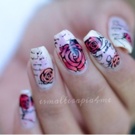 Clear Jelly Stamper - Stamping Plate - CJS_02 - Simple Rose & Script