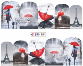 Waterdecals - Red Umbrella - BN381