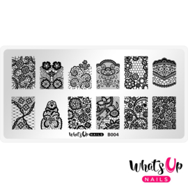Whats Up Nails - Stamping Plate - B004 Seductive Lace