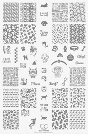 UberChic - Big Nail Stamping Plate - Furry Best Friends