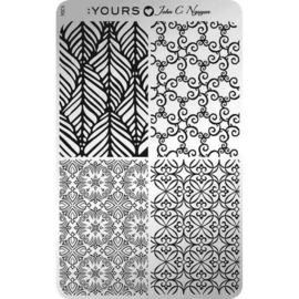 Yours Cosmetics - Stamping Plates - :YOURS Loves John - YLJ04. Floral Stitch