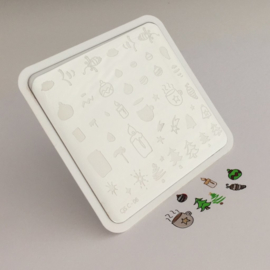 Clear Jelly Stamper - Stamping Plate - CJS- C06 - Cappuccino & Candles Christmas Plate