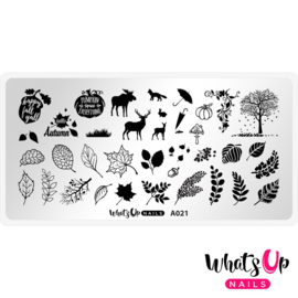 Whats Up Nails - Stamping Plate - A021 - Leaf Pile