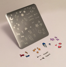 Clear Jelly Stamper Stamping Plate - Sea and Stars Doodle