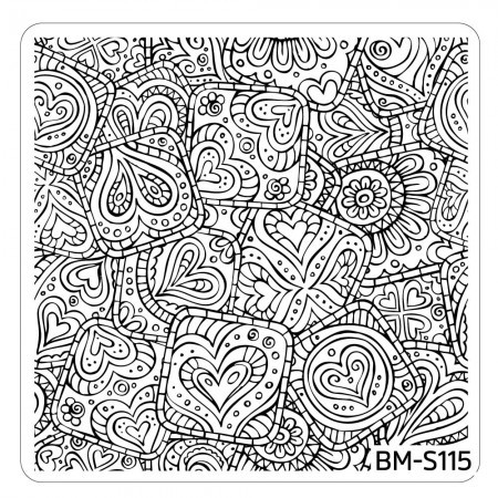 Bundle Monster - Paisley Flow Nail Art Manicure Stamping Plate - Hearts Abound