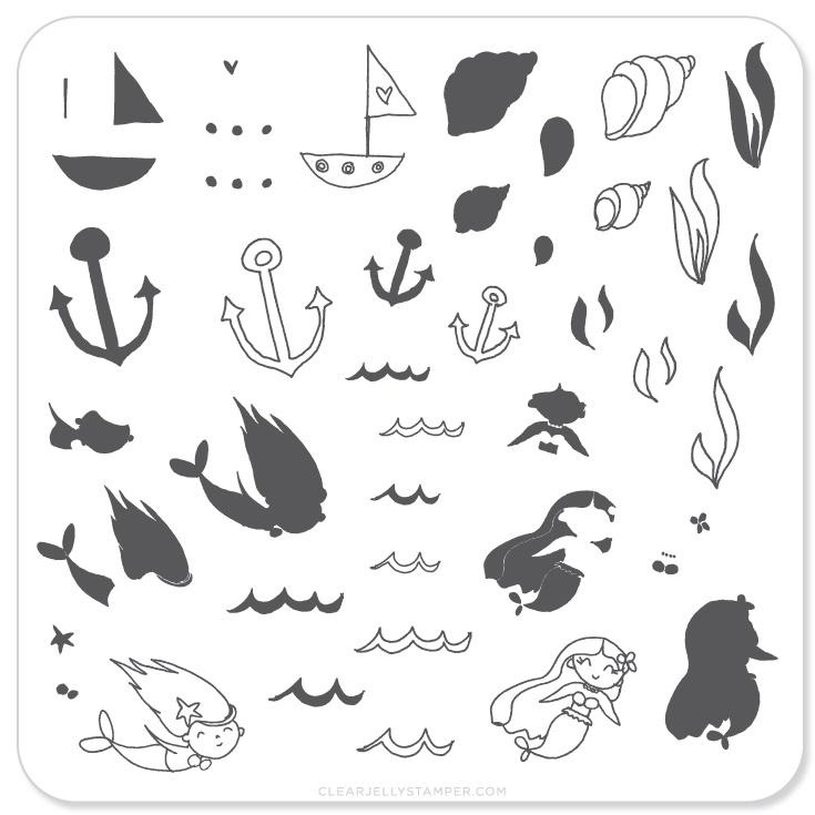 Clear Jelly Stamper - Stamping Plate - CJS_24 - Mermaid Doodle #1