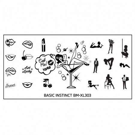 Bundle Monster - Naughty XL Nail Art Stamping Plates - Basic Instinct (BM-XL303): Someone's Getting Lucky