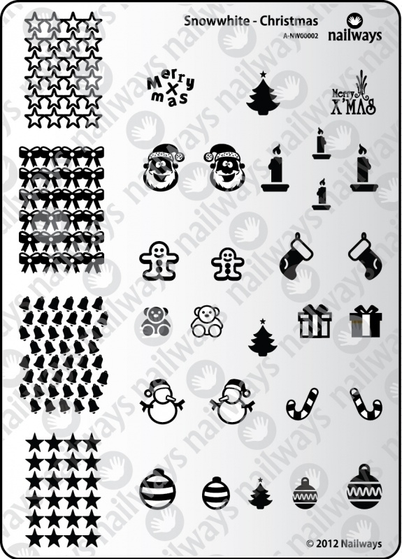 Nailways - Stamping Plate - Snowwhite - 02. Christmas