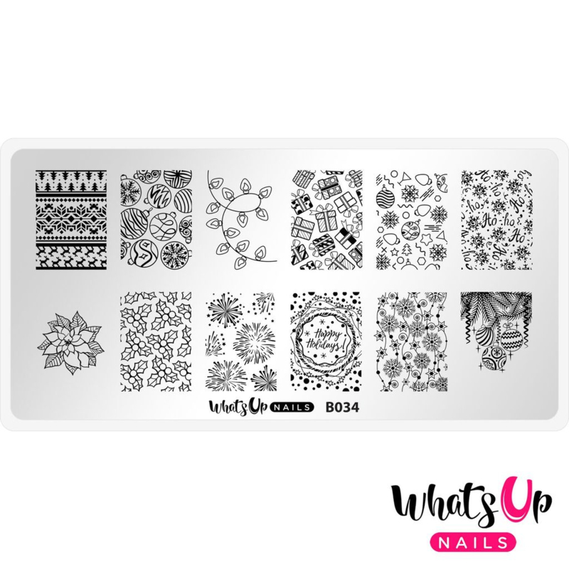 Whats Up Nails - Stamping Plate - B034 Deck The Nails