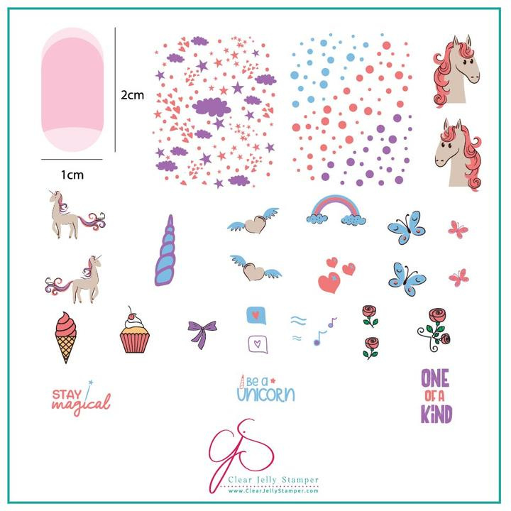 Clear Jelly Stamper - Medium Stamping Plate - CJS_94 - Lil Unicorn