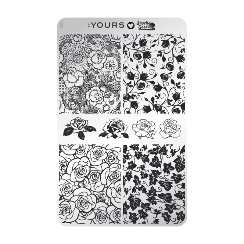 Yours Cosmetics - Stamping Plates - :YOURS Loves Sascha - YLS06. Rosa