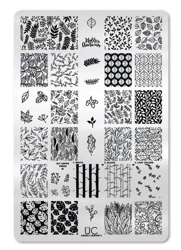 UberChic - Big Nail Stamping Plate - Lovely Leaves - 03