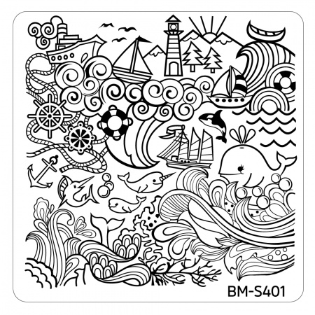Bundle Monster - Hangloose Nail Art Manicure Stamping Plate - BM-S401, Turbulent Seas