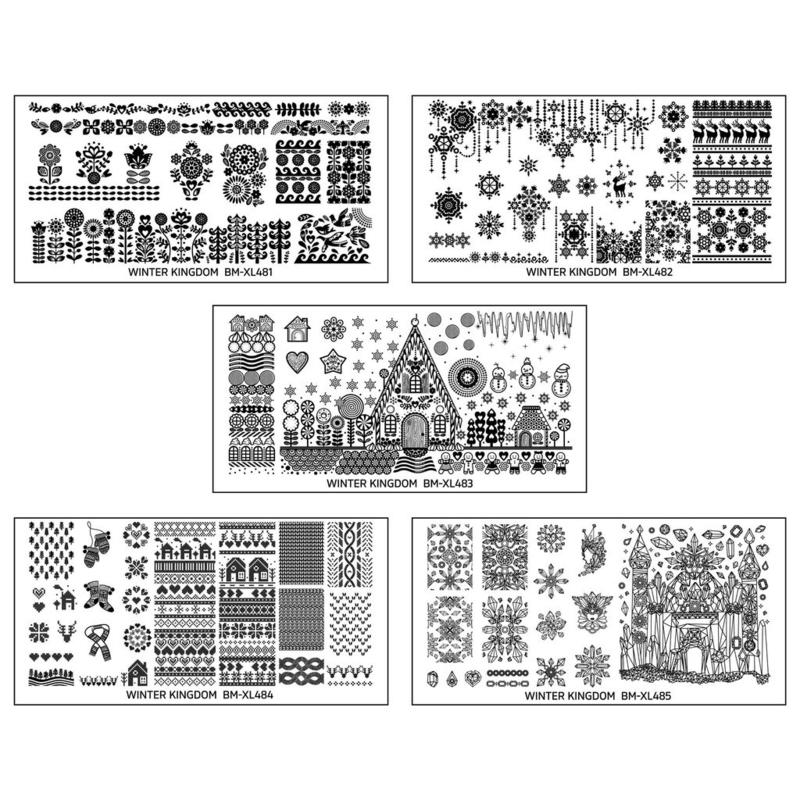 Bundle Monster - Nail Art Stamping Set 481 - Winter Kingdom