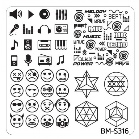 Bundle Monster - Musik City Nail Art Manicure Stamping Plate - BM-S316: Faces Of Music