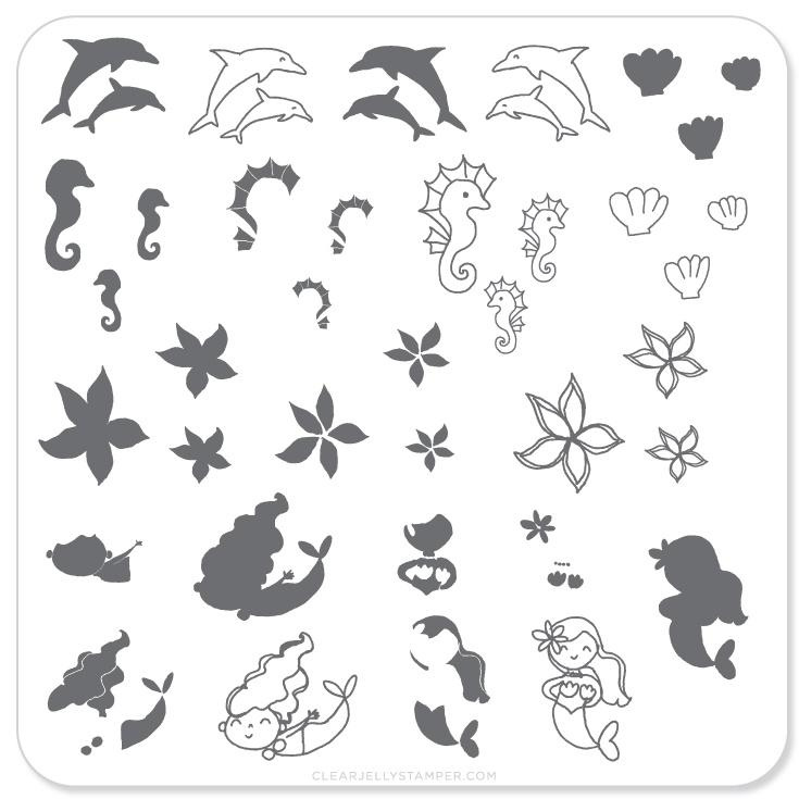 Clear Jelly Stamper - Stamping Plate - CJS_25 - Mermaid Doodle #2