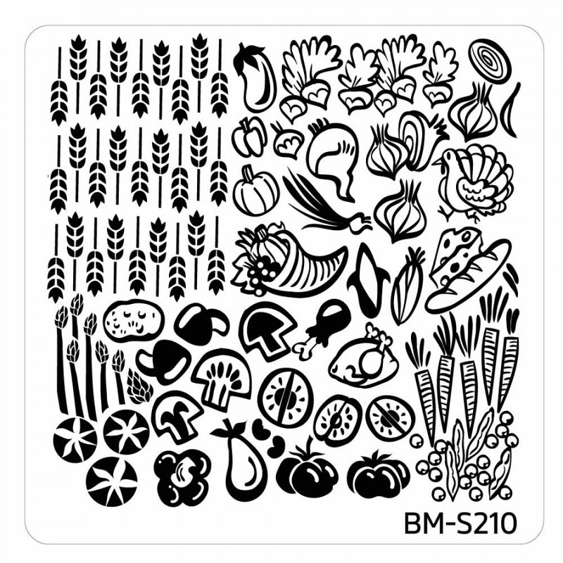 Bundle Monster - Thanksgiving Themed Square Nail Art Stamping Plate - BM-S210, The Fall Feast