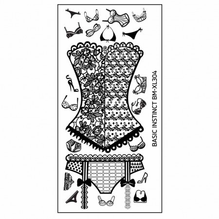 Bundle Monster - Naughty XL Nail Art Stamping Plates - Basic Instinct (BM-XL304): Sexy Lingerie