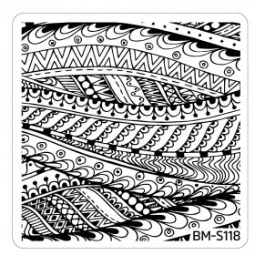 Bundle Monster - Paisley Flow Nail Art Manicure Stamping Plate - Streaks of Mana