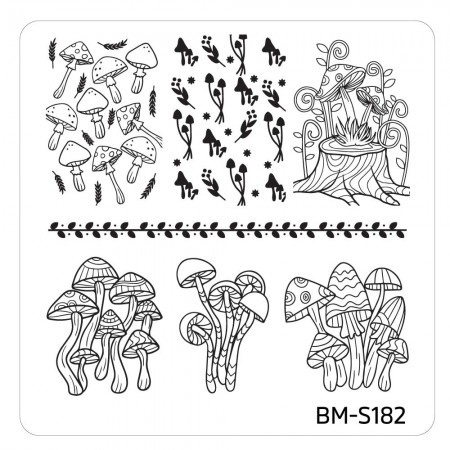 Bundle Monster - Mystic Woods Nail Stamp Plate - Mucho Mushrooms