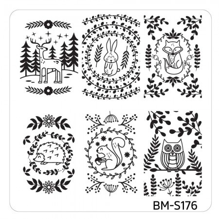 Bundle Monster - Mystic Woods Nail Stamp Plate - Forrest Cuties