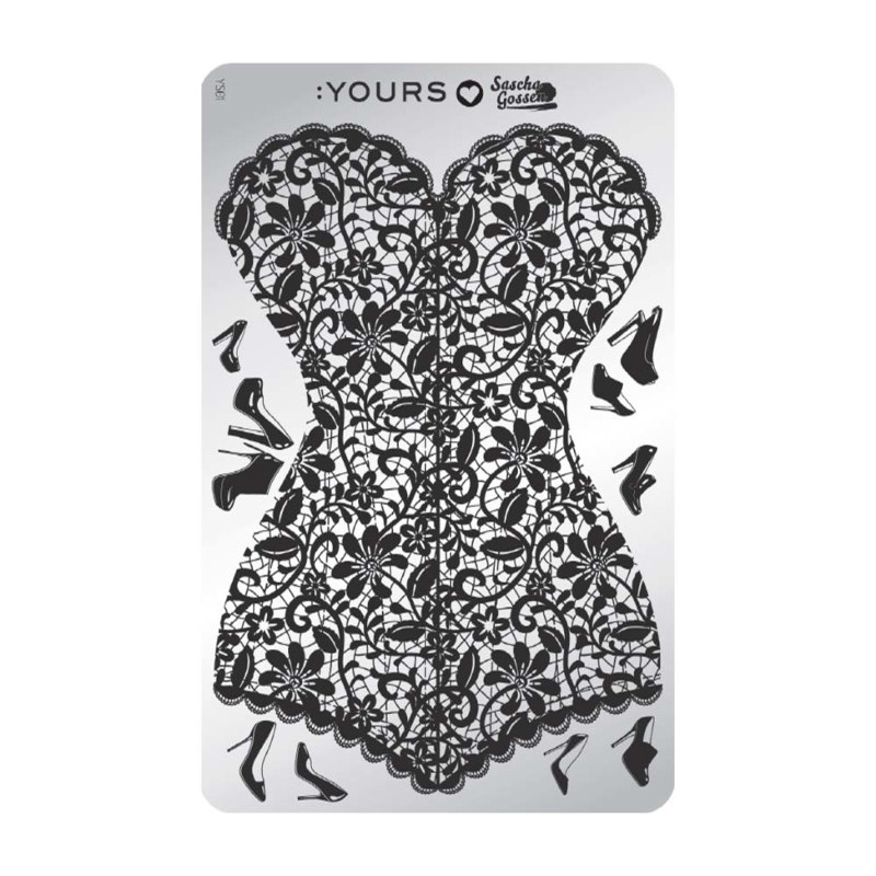 Yours Cosmetics - Stamping Plates - :YOURS Loves Sascha - YLS01. Corset in Heels