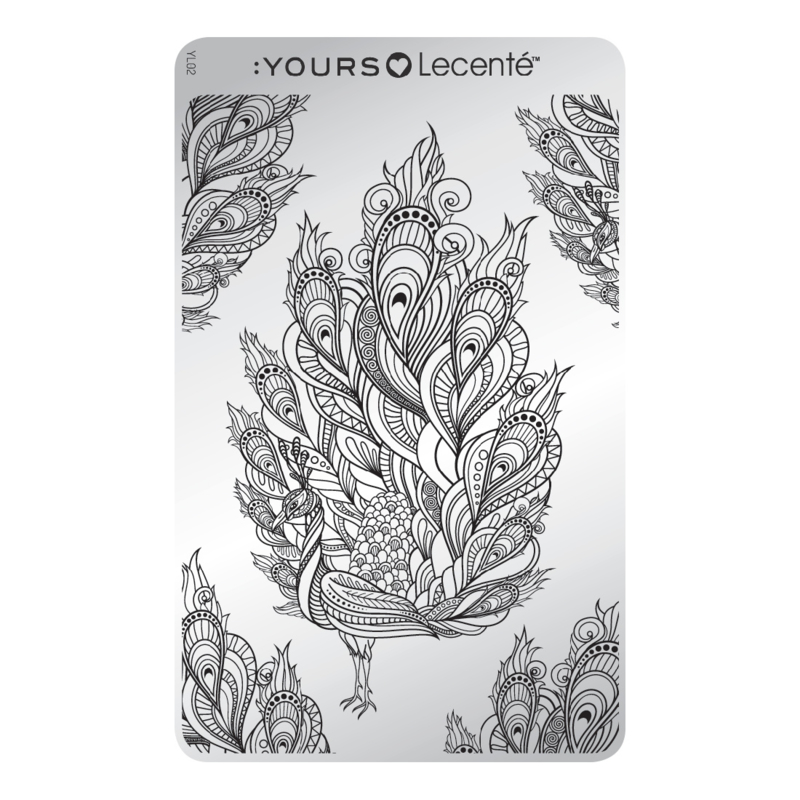 Yours Cosmetics - Stamping Plates - :YOURS Loves Lecenté - YLL02. Feathertastic
