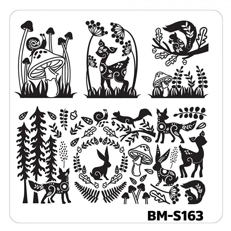 Bundle Monster - Nail Art Stamping Plates - Fuzzy and Ferocious: BM-S163, Woodland Creatures