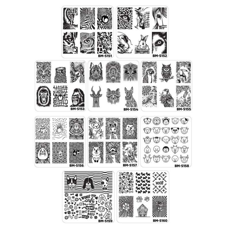 Bundle Monster - Stamping Plate Set - Fuzzy and Ferocious, Set 1