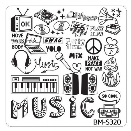 Bundle Monster - Musik City Nail Art Manicure Stamping Plate - BM-S320, Music: So Cool!