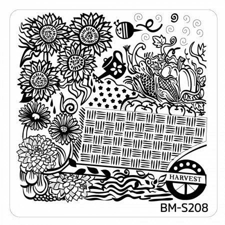 Bundle Monster - Fall Themed Square Nail Art Stamping Plate - BM-S208, Harvest Bounty