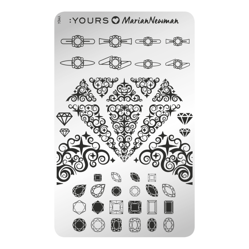 Yours Cosmetics - Stamping Plates - :YOURS Loves Marian Newman - YLM04. Diamonds are forever