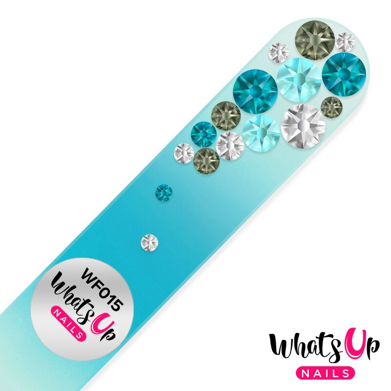 Whats Up Nails - Glass Nail File - WF015 Bubbles Color Turquoise