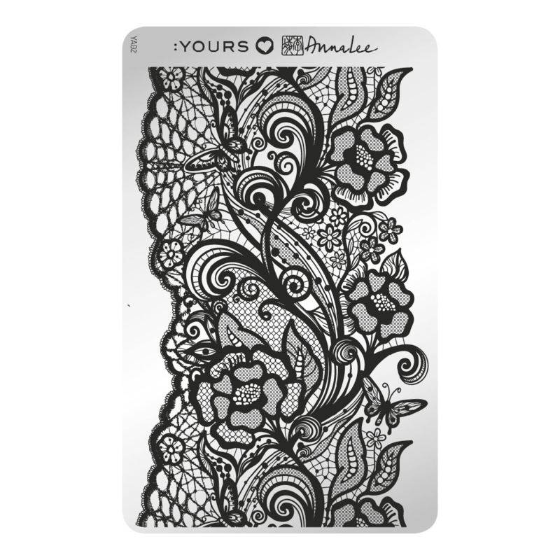 Yours Cosmetics - Stamping Plates - :YOURS Loves Anna Lee - YLA02. Butterfly Lace