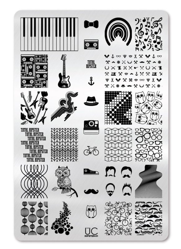 UberChic - Big Nail Stamping Plate - Hipster - 01