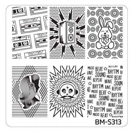 Bundle Monster - Musik City Nail Art Manicure Stamping Plate - BM-S313: Mega Beats