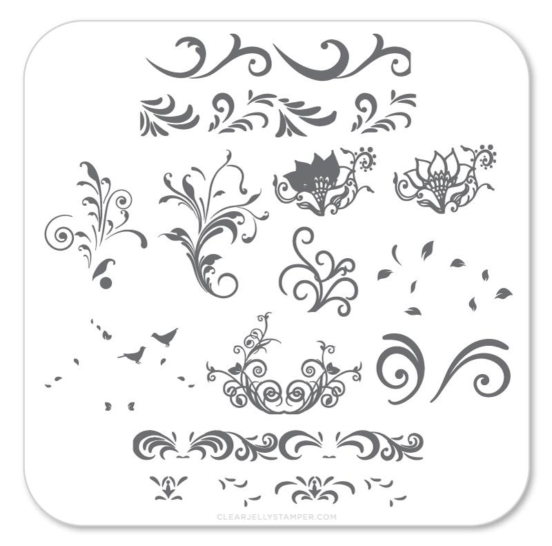 Clear Jelly Stamper - Stamping Plate - CJS_49 - Petit Swirls