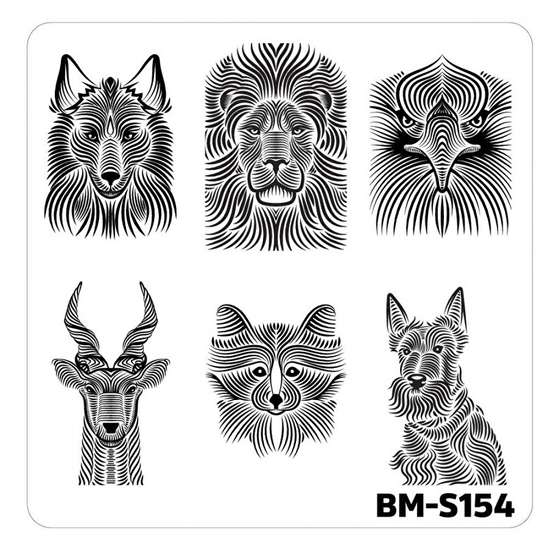 Bundle Monster - Nail Art Stamping Plates-Fuzzy and Ferocious - BM-S154, Animal Hairs
