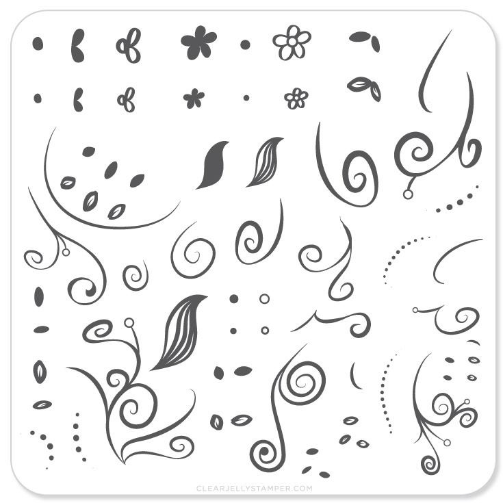 Clear Jelly Stamper - Stamping Plate - CJS_13 - Floral Swirl #1