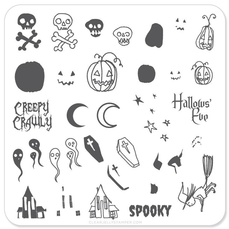 Clear Jelly Stamper - Stamping Plate - CJS_H05 - Halloween - Spooky